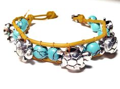 Turtles and Turquoise Howlite Leather Woven Bracelet made by CHRISTIANIMAL. Need to make this for a friend:)