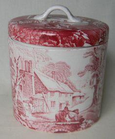 Red English Transferware Ironstone Lidded Jar Canister Pastoral Horse and Bridge Scene.