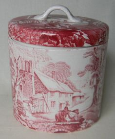 Red English Transferware Ironstone Lidded Jar Canister Pastoral Horse and Bridge Scene.