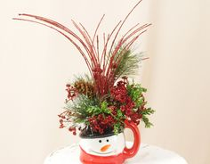 Snowman Mug Arrangement * Christmas Arrangement * Christmas Centerpiece * Seasonal Accent * Holiday Centerpiece * Red and Black by englishrosedesignsoh on Etsy