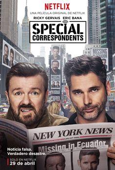 Aquí un primer vistazo al nuevo trailer y arte principal para la película original de Netflix, Special Correspondents, escrita, dirigida y protagonizada por Ricky Gervais.