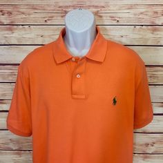 ⭐polo Ralph Lauren Polo Golf Shirt Mens L Short Sleeve Large Orange Green EUC | eBay