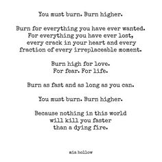 You must burn. Burn higher. Burn for everything you have ever wanted. For everything you have ever lost, every crack in your heart and every fraction of every irreplaceable moment. Burn high for love. For fear. For life...