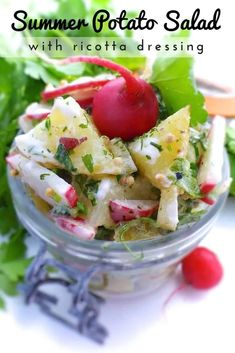 Summer Potato Salad & Ricotta Dressing | Simple. Tasty. Good. Easy Salad Recipes, Vegetarian Recipes Easy, Easy Salads, Veggie Recipes, New Recipes, Potato Sides, Potato Side Dishes, Ricotta, Grilled Roast