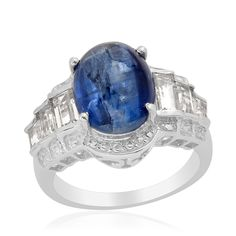 Liquidation Channel: Himalayan Kyanite and White Topaz Ring in Platinum Overlay Sterling Silver (Nickel Free)
