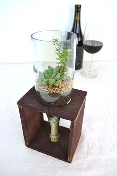 Wine bottle and barrel Terrarium 100 by winecountrycraftsman