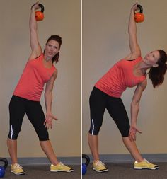 """This move is """"phenomenal for the sides, for the waistline,"""" assures Laura, who says that the downward movement """"kicks those external and internal obliques"""" to strengthen your core. """"As a female, I always want to whittle away that"""