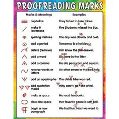 Teacher Created Resources Proofreading Marks Chart, Multi Color Related lessons and activities are provided on the back of every chart. Each chart measures 17 x 22 Inches. Shiny, protective coating for durability Teaching Writing, Writing Help, Writing A Book, Essay Writing Tips, Essay Tips, Teaching Literature, Writing Resources, English Writing Skills, Teaching English