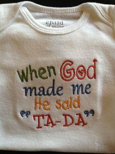 When God Made Me Monogrammed Onesie ...Bodysuit for BaBy Boy on Etsy, $24.00