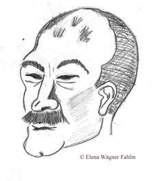 Retrato de D. Javier García Cabañas. Dibujado por Elena Wägner Fahlin en Enero de 1994.