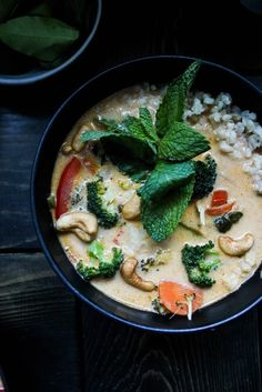 Veggie Thai Red Curry Coconut Soup with Brown Rice