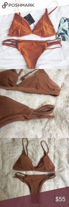 Tan nude rose gold strappy braided cheeky bikini Tan nude rose gold color cheeky Brazilian bikini set.  Lined and lightly padded. Size Small Medium Large.  Fits true to size! Marked acaica swimwear, mikoh, Frankie's bikinis, urban outfitters for visibility but it from a boutique.  Received 5 star ⭐️ reviews!!! Frankie's Bikinis Swim Bikinis