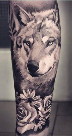 Dream Tattoos, Wolf Tattoos, Tatoos, Leg Sleeves, Body Modifications, Black And Grey Tattoos, Art Forms, Tattoo Inspiration, Blackwork