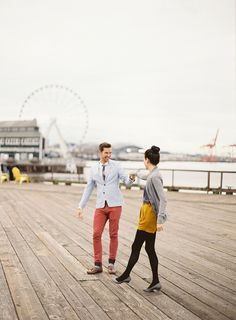 In LOVE with this couple! Photography: O'Malley Photographers | #Anniversary Shoot on SMP:  http://www.stylemepretty.com/washington-weddings/seattle/2013/12/04/seattle-waterfront-anniversary-session-from-omalley-photographers