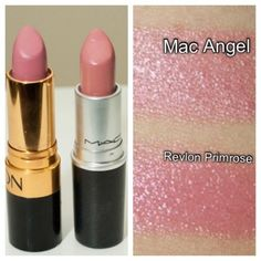 Stillglamorus: Thrifty Thursday: Mac lipstick dupe alert --- Revlon Primrose is slightly pinker, while Mac Angel has a slightly more frosty tint. Very subtle difference, but you can tell just by looking at the smears, as well as the lipstick. Kiss Makeup, Love Makeup, Makeup Tips, Hair Makeup, Makeup Products, Angel Makeup, Beauty Products, Mac Angel Dupe, Mac Lipstick Angel