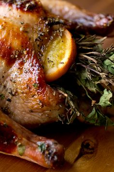 Sweet Citrus and Herb Bouquet-Stuffed Cornish Game Hens with Orange Marmalade Glaze