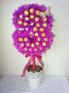 A number 3 Ferrero Rocher lolly tree Ferrero Rocher, Ferrero Chocolate, Chocolate Basket, Chocolate Tree, Chocolate Bouquet, Chocolate Gifts, Diy Bouquet, Candy Bouquet, Bouquets