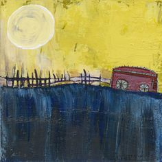 """Slow Train""   by Cheryl Finfrock acrylic/claybord   8"" x 8""  2012  $300  Contact: cherylfinfrock@gmail.com"