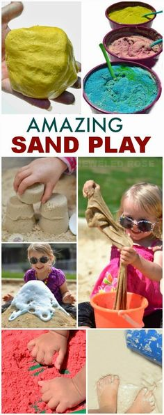 Amazingly fun ways to play with sand including recipes for aqua sand, magic sand, sand slime, sand paint, homemade colored sand, how to make a sand volcano, & MORE!