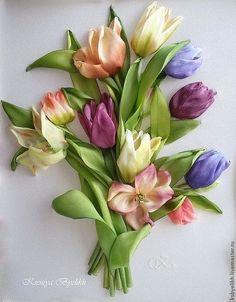 Картины цветов ручной работы. Ярмарка Мастеров - ручная работа. Купить Тюльпаны. Handmade. Тюльпаны, картина в подарок, Вышитая картина
