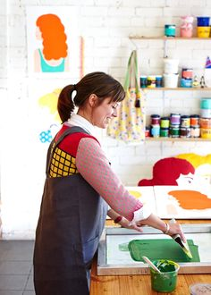 Alice Oehr printing at Harvest Workroom during her residency this month.  Photo - Sean Fennessy. {{ Love the colors! }}