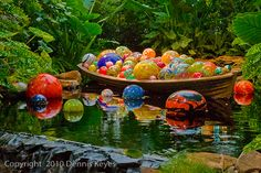 """Love Chihuly installations. This makes me think of summer. Could green actually be the """"background"""" color in a quilt? Hmmm..."""