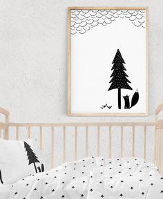 Kids Wall Art, FOX Print, Black and White Prints,  Nursery Decor, Kids Posters, Scandinavian Art, Printable gift, Digital Download