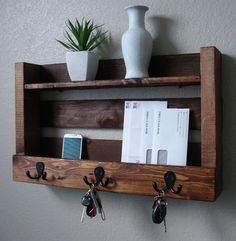 Rustic Entryway 3 Hanger Hook Coat Rack With Shelf And Mail Phone Key Organizer