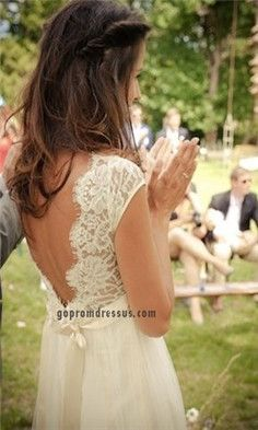 love this backing, lace wedding dress