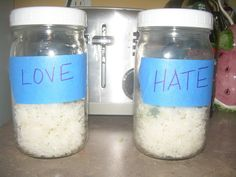 Be Nice to Your Rice: The Rice Experiment (Dr. Masaru Emoto's experiment). Teach your kids the power of love vs. harmful words. Scientific explanation is the reverberations of the voice tones, but the kids will be amazed nonetheless! We are doing this!!!