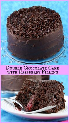 Double Chocolate Cake with Raspberry Filling ... oh, and covered with a thick layer of chocolate ganache frosting.  A chocolate-lovers cake recipe for sure! - via RecipeGirl.com