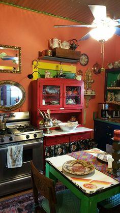 After-Bisbee kitchen - DIY Schöner Wohnen / Better Living - Bohemian Bohemian Kitchen, Bohemian House, Rustic Kitchen, Bohemian Decor, Kitchen Decor, Funky Kitchen, Kitchen Interior, Kitchen Design, Sweet Home