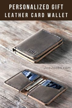 JooJoobs Credit Card Wallet Best Wallet on Etsy Personalized design is made from distressed leather Best Men accessories All products are handmade Christmas gifts for him Birthday gifts Father's d Personalized Leather Wallet, Handmade Leather Wallet, Leather Card Wallet, Personalized Gifts, Mens Bifold Leather Wallet, Travel Accessories For Men, Men's Accessories, Leather Wallet Pattern, Diy Accessoires