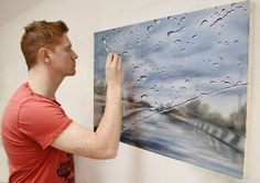 """Rainy Windshield Paintings on Canvas as seen through car windshields. The author-Francis McCrory, says: """"On rainy days, I like to observe the world through Rain Painting, Oil Painting On Canvas, Rainy Day Pictures, Sick Drawings, Pencil Drawings, Raining Outside, Illusion, Picture Source, Diy Papier"""