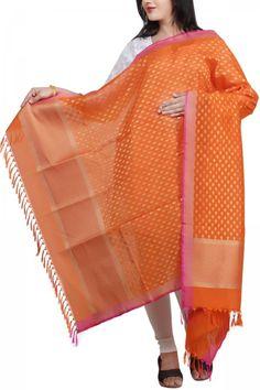 Orange & Fuchsia Kora Silk Zari Booti Dupatta