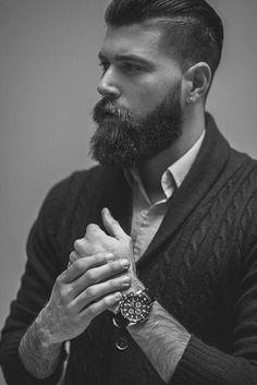 amazing undercut witha beard