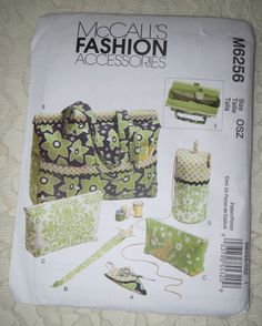 McCall's M6256 Sewing Pattern Tote Bag Organizer Knitting Needle & Scissor Case Yarn Holder