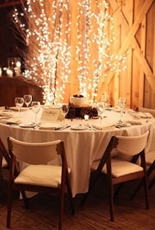 twinkly lights barn event branches elegant wedding from 'she finds'