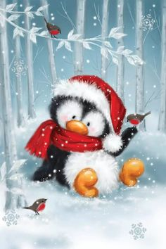 Christmas Scenes, Noel Christmas, Christmas Animals, Christmas Pictures, Vintage Christmas, Christmas Crafts, Christmas Decorations, Christmas Ornaments, Watercolor Christmas Cards
