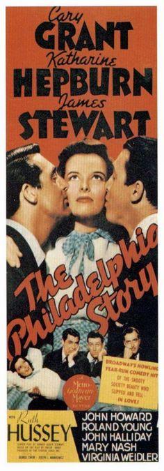 "Movie poster, ""The Philadelphia Story"", starring Cary Grant, Katherine Hepburn and Jimmy Stewart"