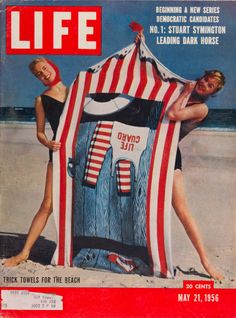"""Life Magazine cover, """"Trick Towels for the Beach, Joan Burke and Tippi Hedren"""", May 21, 1956"""