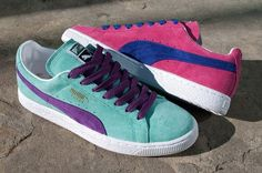 Bright PUMA Suedes #sneakers #women's #pink #teal #purple #bright $59.00