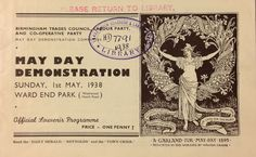 'May Day Demonstration, Sunday, May, Ward End Park' D Lab, May Days, Sunday, Park, Reading, Domingo, Parks, Reading Books