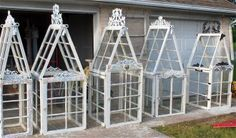 What better way to recycle old salvaged windows than to build them into a unique garden greenhouse or potting shed? Old windows, door.