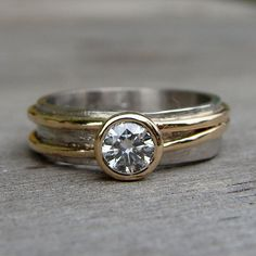 Moissanite 950 Palladium and Recycled 14k by McFarlandDesigns, $1138.00