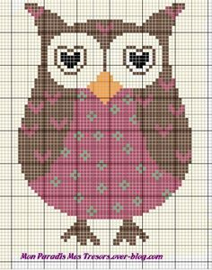 Grille gratuite chouette. Adorable free owl chart.