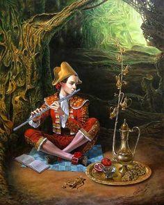Michael Cheval - flauta mágica II - óleo sobre tela