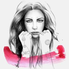 Portrait inspired by a picture of @carolineroxy  Do you want your own portrait? Just send me an email!  . . #art #portrait #pencildrawing #watercolor #brushstrokes #pencil #mixedmedia #illustration #painting #drawing #pencilportrait #artwork #fashion #jewelry #jewelryillustration #fashionillustration #girl #beauty #pink #blackandwhite #retrato