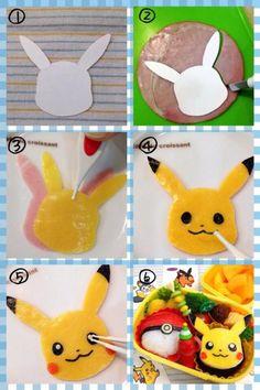 How to make pikachu for a character bento Cute Lunch Boxes, Bento Box Lunch, Pokemon, Pikachu, Bento Tutorial, Anime Bento, Kawaii Bento, Cool Paper Crafts, Bento Recipes