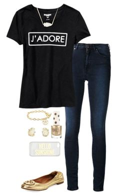 """Spirit week: School colors (black and gold)"" by kaley-ii ❤ liked on Polyvore featuring Acne Studios, Old Navy, Topshop, Tory Burch, Kendra Scott and Kate Spade"